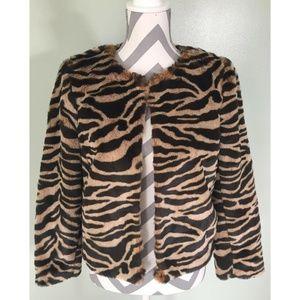 BANANA REPUBLIC Faux  Tiger Fur Shrug Coat Jacket